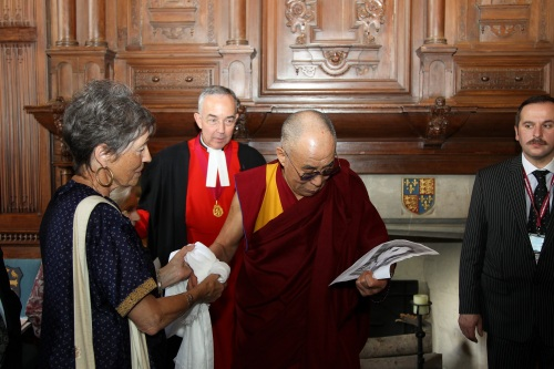 Dalai Lama studying photo