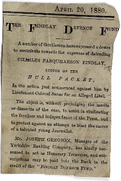 Newspaper cutting of Findlay Defence Fund
